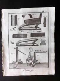 Diderot 1780's Antique Medical Print. Chirurgie 04 Surgical Instruments